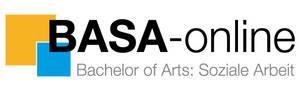 Logo des BASA-online Studiengangs: Schwarzer Schriftzug BASA-online Bachelor of Arts: Soziale Arbeit. Rechts zwei farbige Quadrate in gelb und blau.