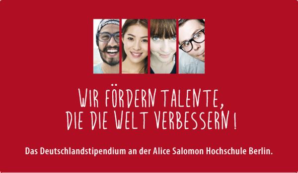 Flyerbild des Deutschlandstipendiums mit vier Portraits: Wir fördern Talente.