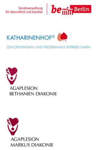 Logos: Senatsverwaltung für Gesundheit und Soziales, Katharinenhof, Agaplesion Bethanien Diakonie, Agaplesion Markus Diakonie