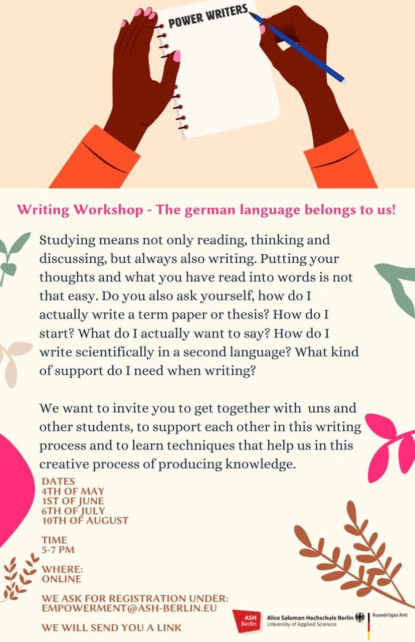 Power Writing Workshops 1.Juni- 6 Juli - 10 August