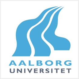 Das blau-weiße Logo der Aalborg Universität.