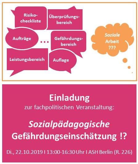 """Fachpolitische Veranstaltung """"Sozialpädagogische Gefährdungseinschätzung!?"""""""