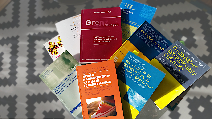 Photograph of assembled Books authored, co-authored and/or edited by Prof. Dr. Jutta Hartmann