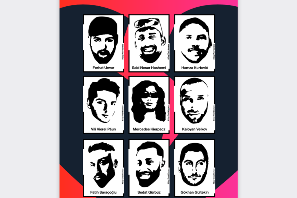 Vergrößern: Ein Plakat der Initiative 19.Februar Hanau, das die Opfer des rassistischen Terroranschlags von Hanau zeigt