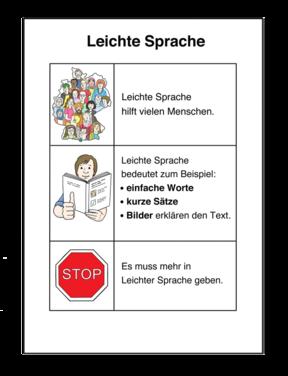 """Zeichnung: Handblatt """"Leichte Sprache"""""""