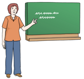 Zeichnung: Lehrerin an einer Tafel