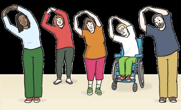 Zeichnung: Fünf Menschen machen Gymnastik, darunter ein Rollstuhlfahrer