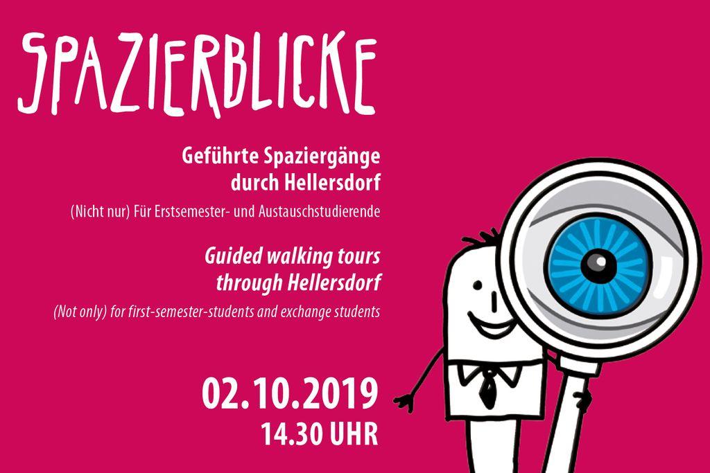 Vergrößern: Cartoon (Mensch mit Lupe) vor pinkem Hintergrund und Textinformationen zu Zeit und Ort des Spazierblicks