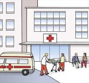 Zeichnung: vor einem Krankenhaus, Notarztwagen mit Patient und weitere Besucher