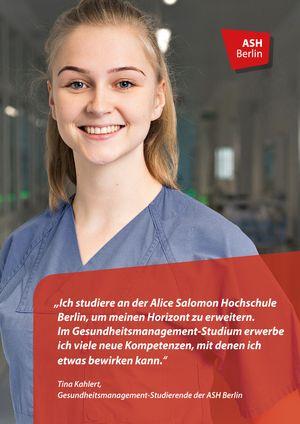 Profilbild der ASH Studentin Frau Kahlert die im Bachelor Management und Versorgung im Gesundheitswesen studiert