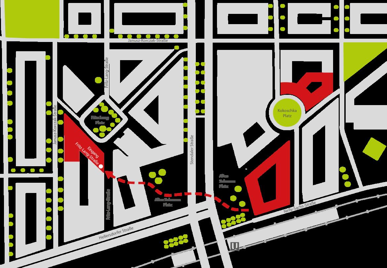 Illustration des Weges zwischen Alice Salomon Hauptgebäude und Räumlichkeiten am Fritz Lang Platz