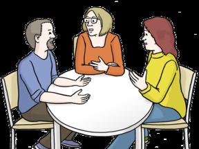 Zeichnung: Drei Menschen reden miteinander an einem Tisch