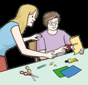 Zeichnung: Eine Frau hilft einem Mann beim Basteln
