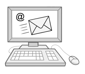 Zeichnung: Desktop-Computer, auf dem Bildschirm ist ein Brief angedeutet